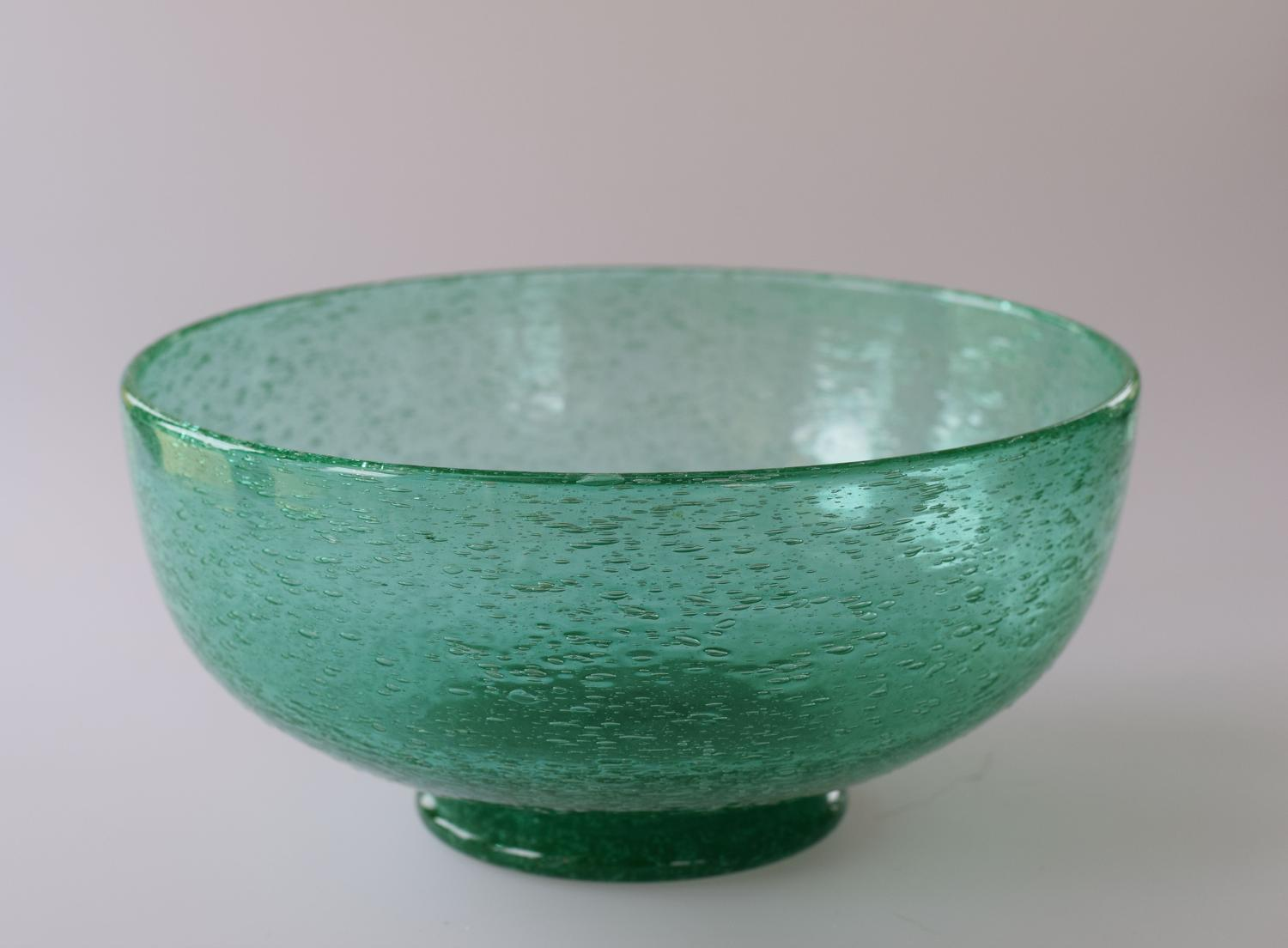 Emerald green bubble bowl, John Walsh Walsh
