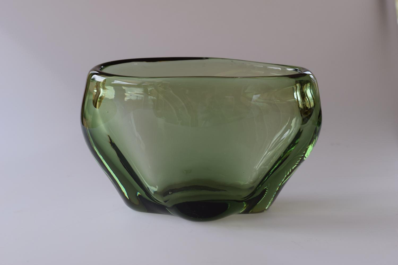 Oval sea green vase, Whitefriars