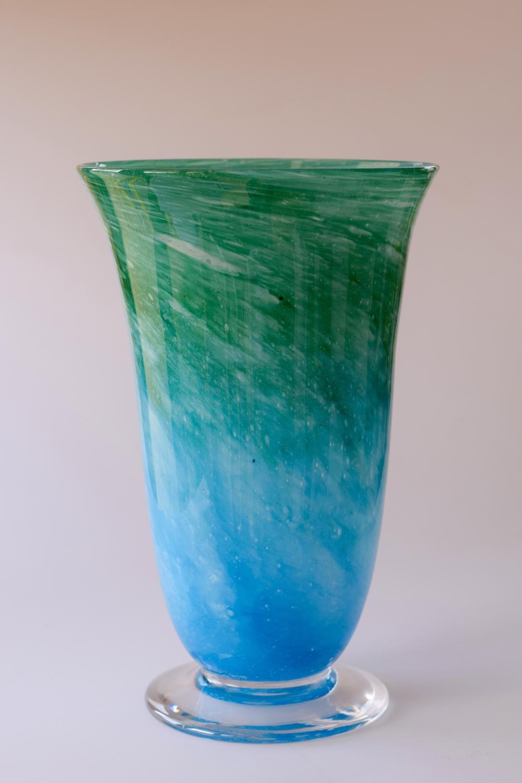 Cloudy blue vase