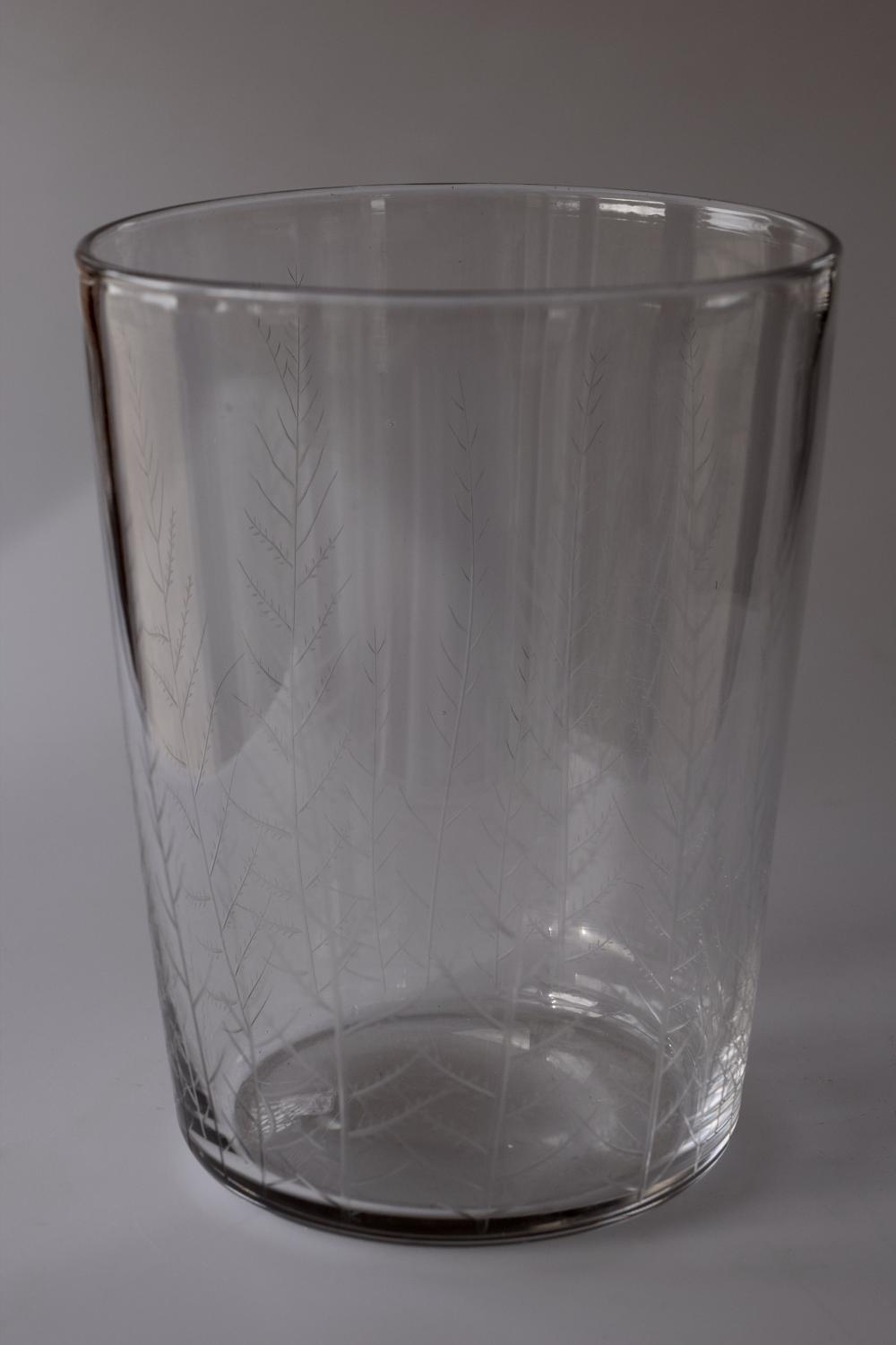 Etched flint bucket vase by Keith Murray