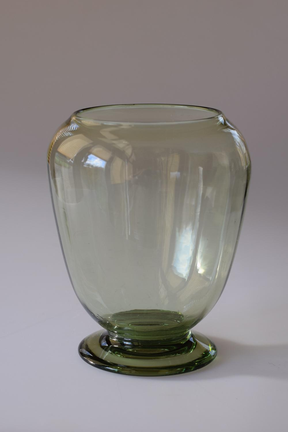 Sea green optic vase, Whitefriars.