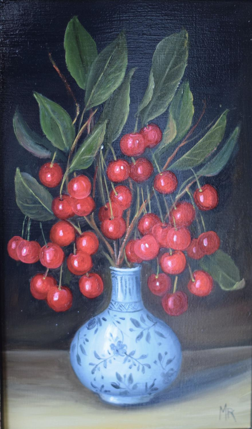 Vase of cherries