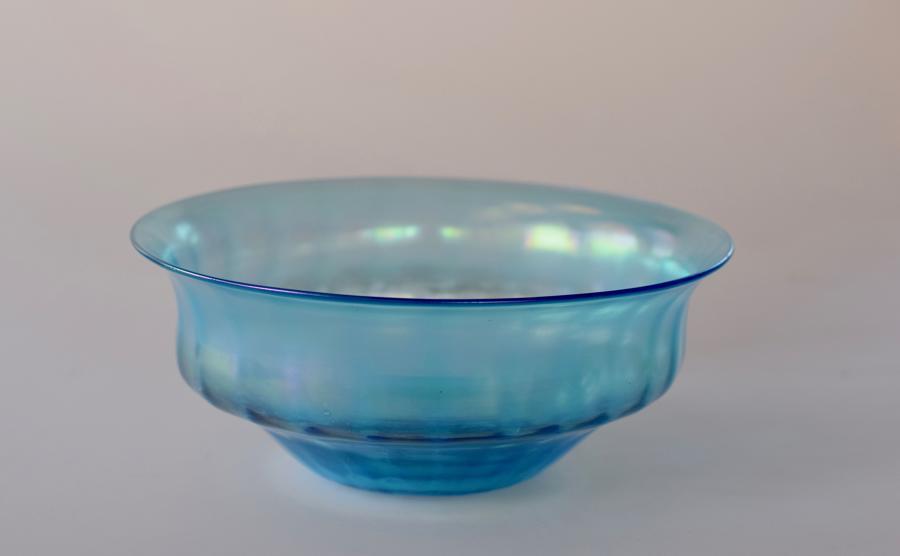 Iridescent blue bowl, John Walsh Walsh