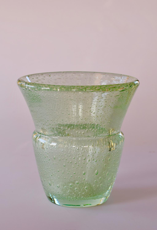 Green urn shaped bubble vase, Daum