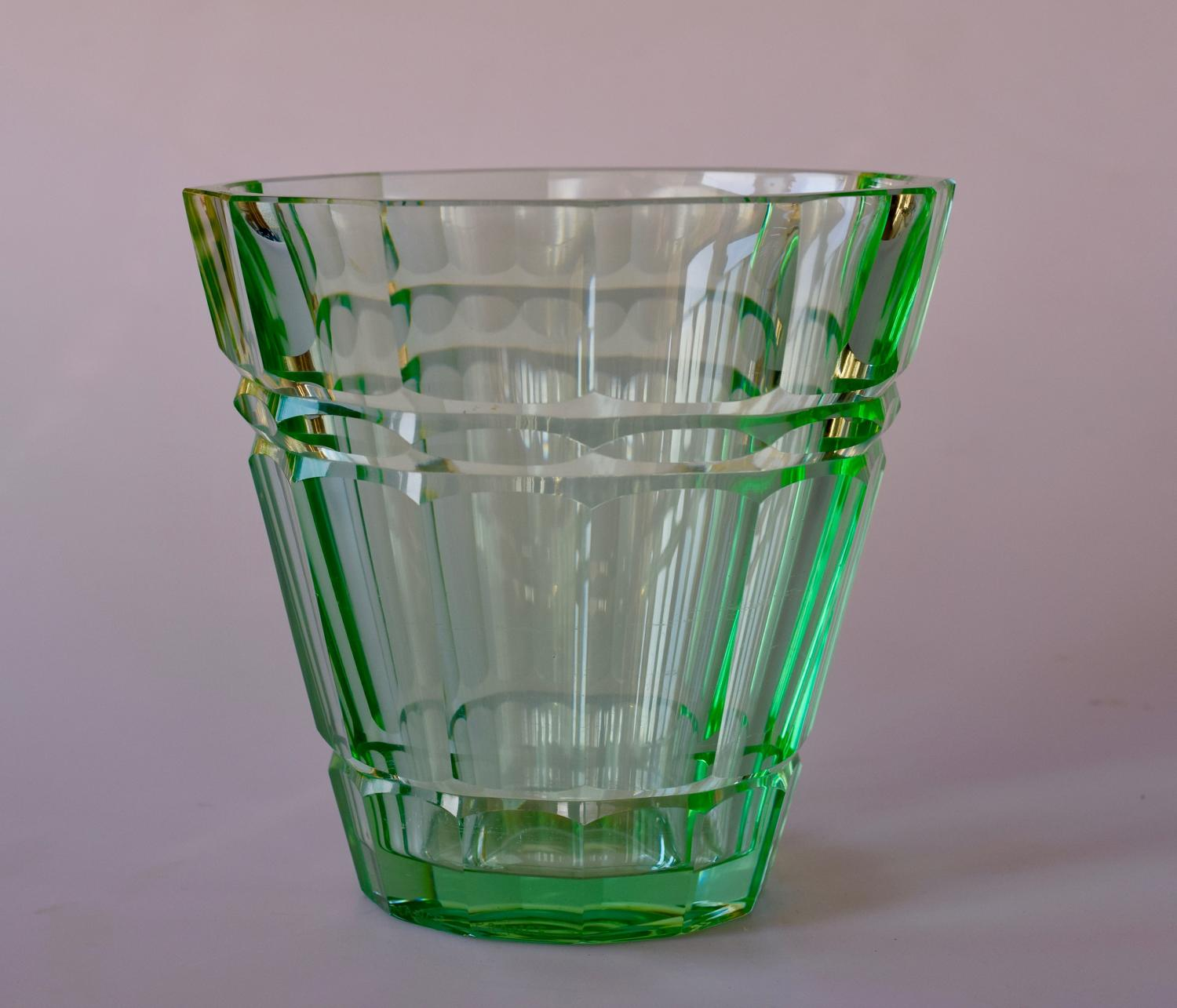 Green Daum facetted vase