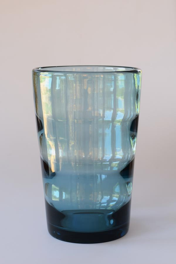 Whitefriars artic blue tumbler vase, William Wilson for Whitefriars.