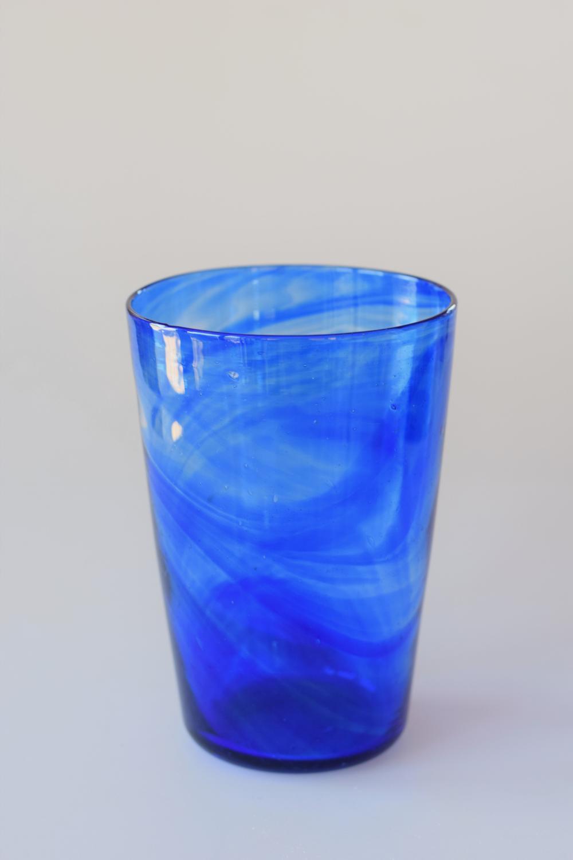 Streaky blue tumbler vase