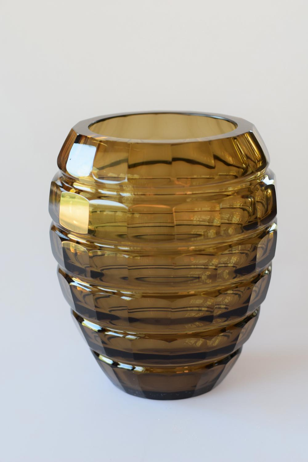 Facetted brown Daum vase.