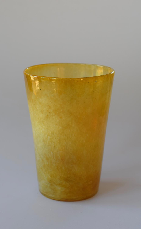 Cloudy yellow tumbler vase