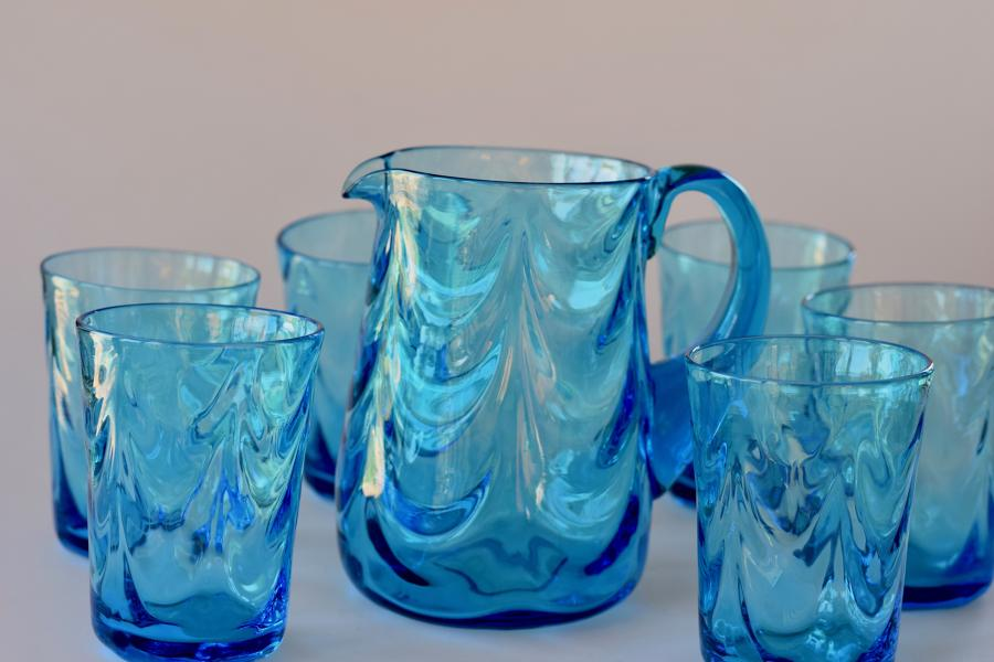 Kingfisher blue jug and glasses set