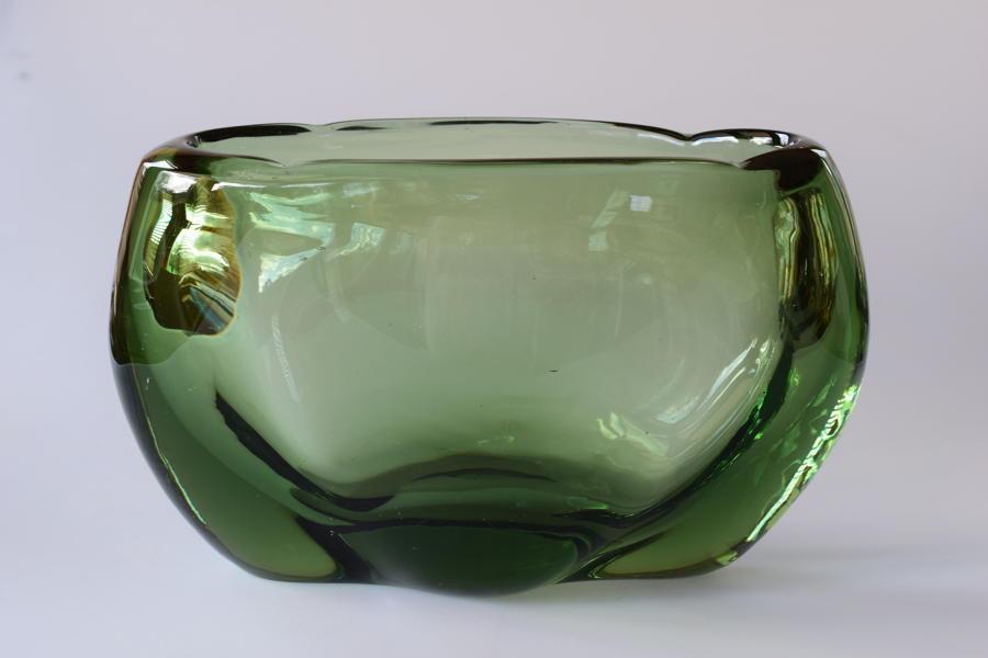 Oval lobed sea green vase