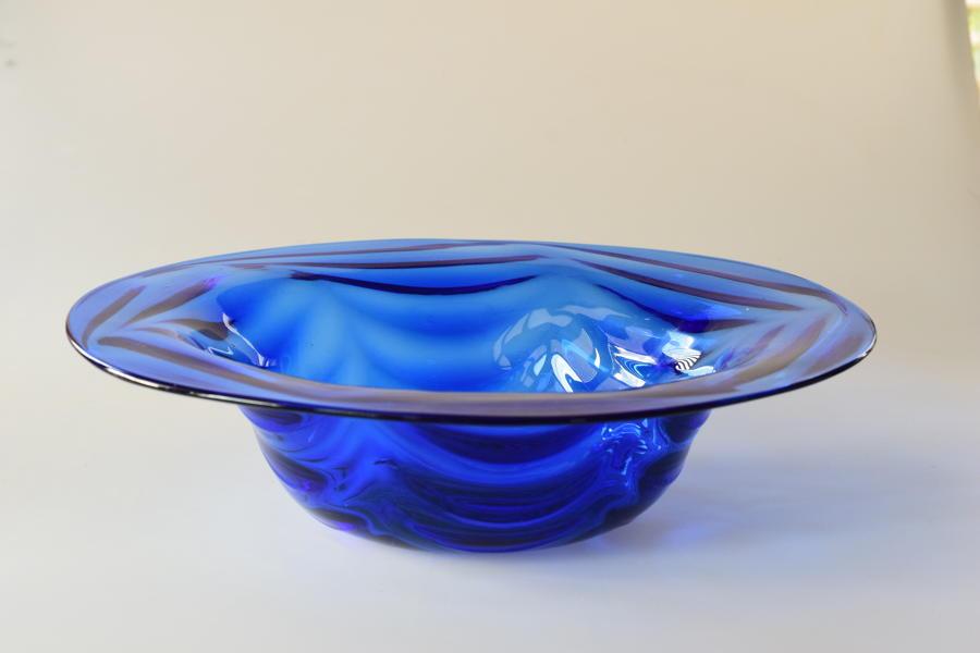 Sanctuary blue wave ribbed open bowl