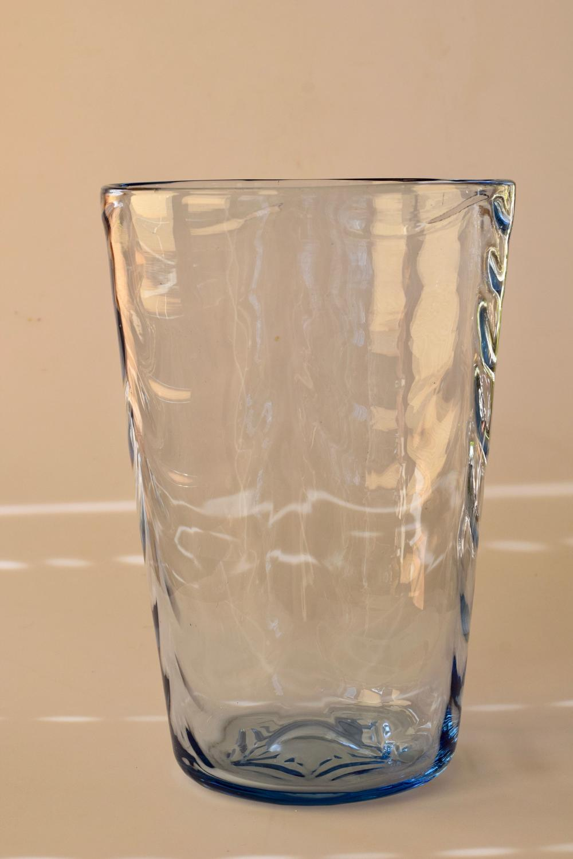 Large blue wave ribbed vase