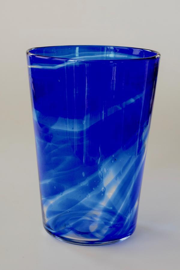 Blue streaky bucket vase