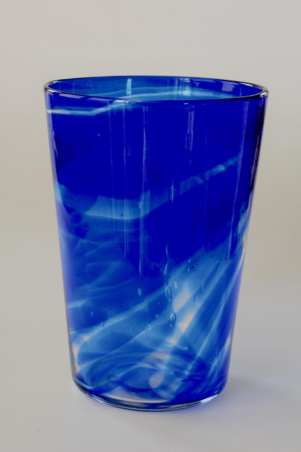 Blue streaky bucket vase