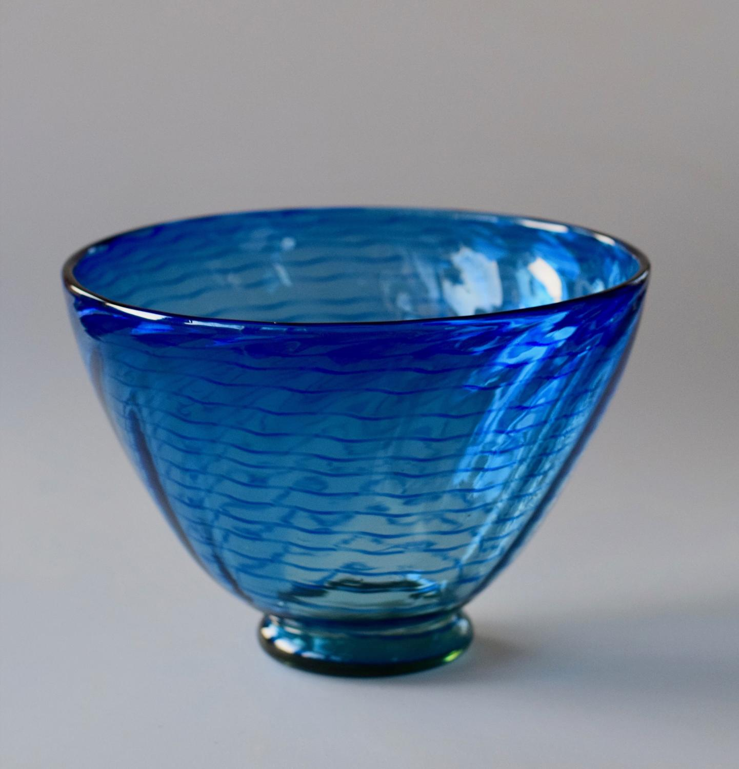 Threaded blue on green footed bowl
