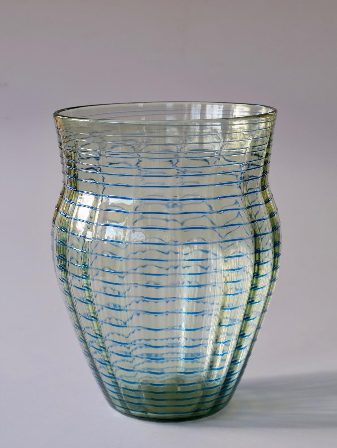 Threaded blue/green vase