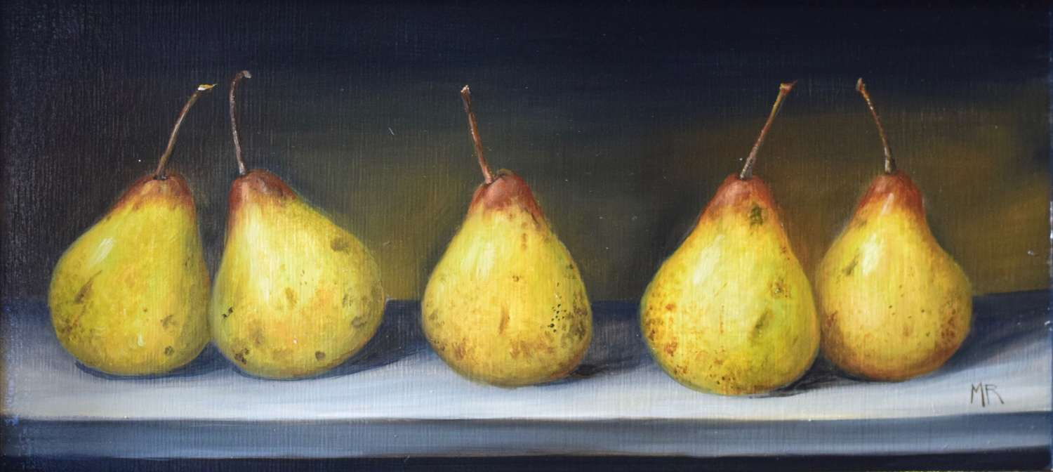 5 Pears on a table