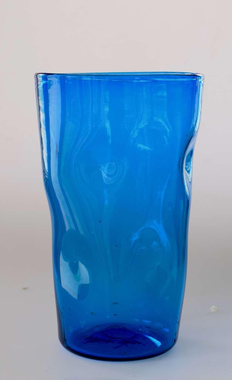 Kingfisher blue dimple bucket vase