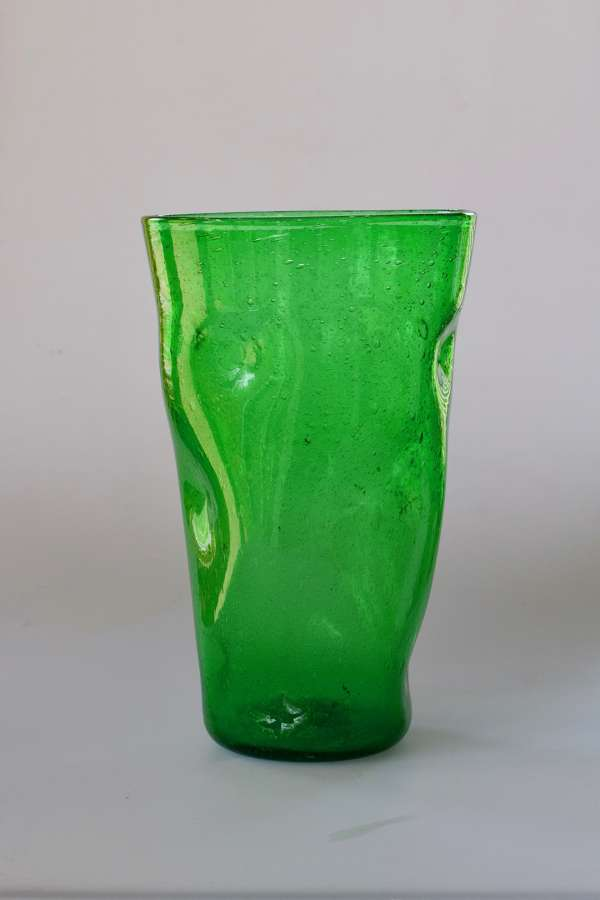 Large green dimple vase