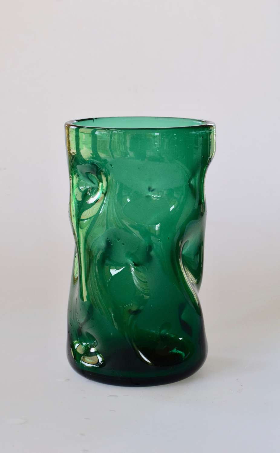 Cylindrical green dimple vase