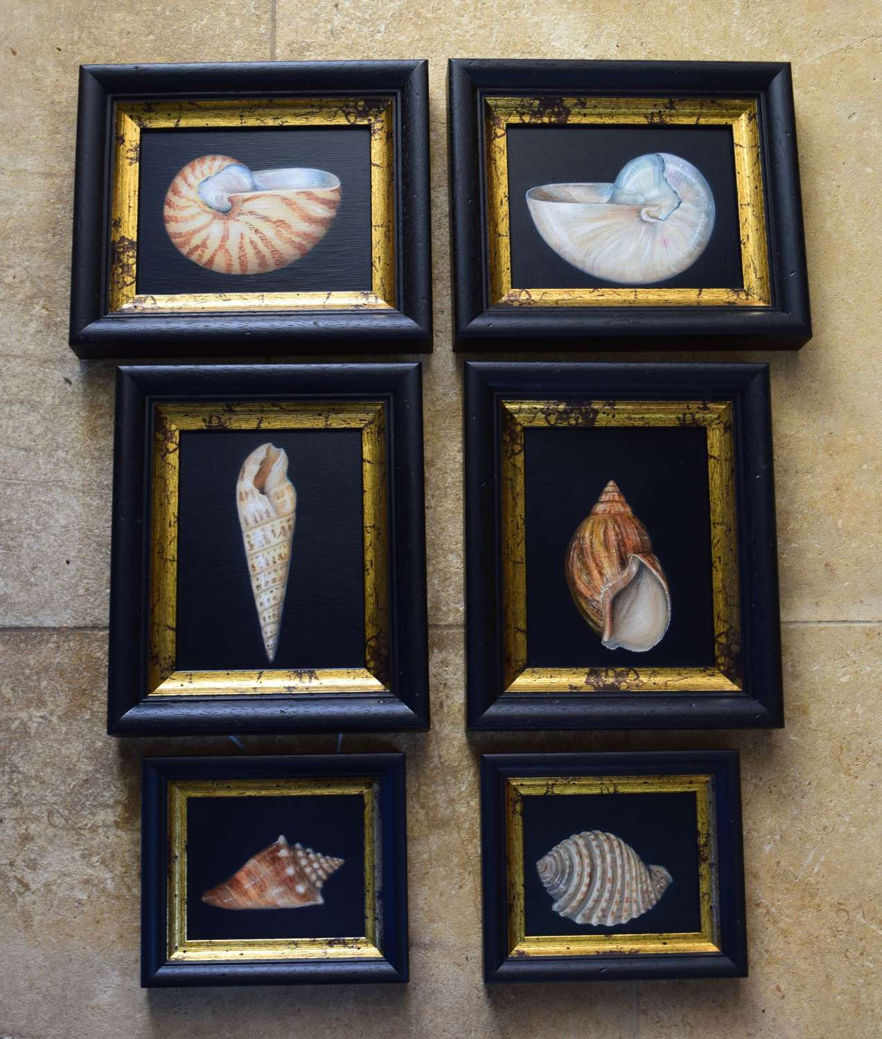 A group of shell paintings