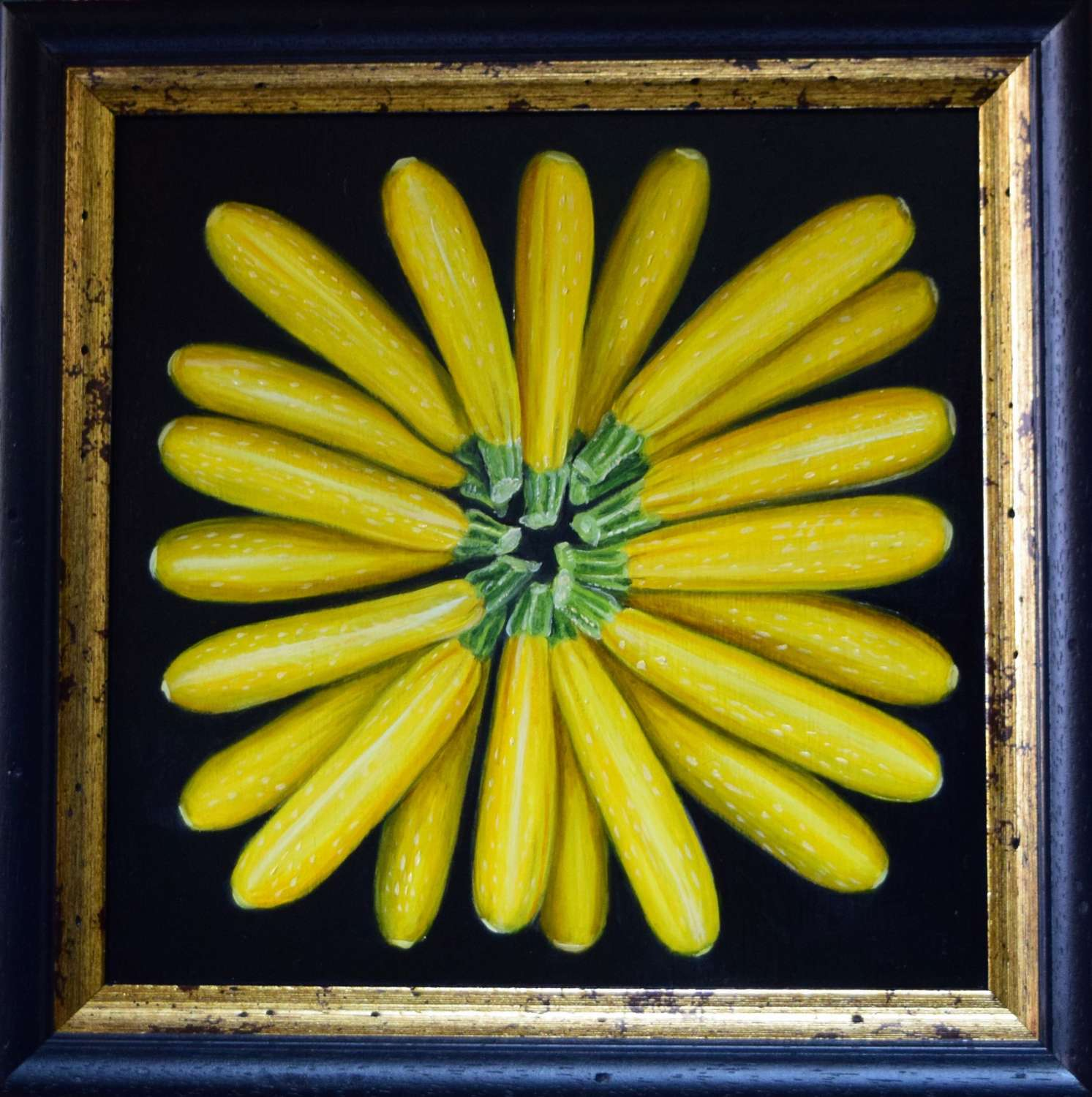 Circle of yellow courgettes