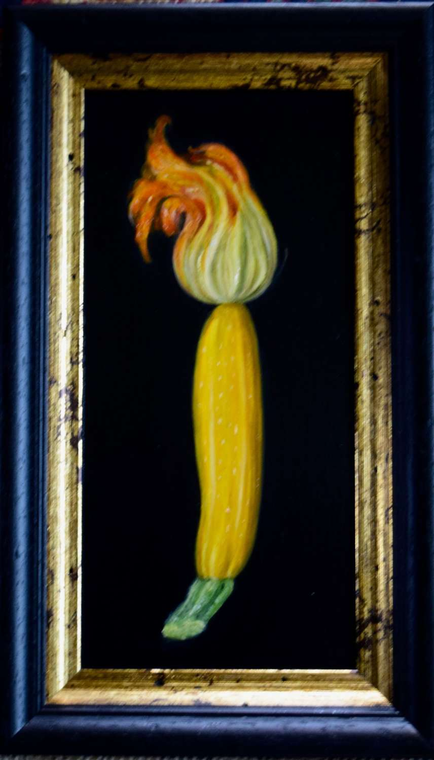 Yellow courgette and flower