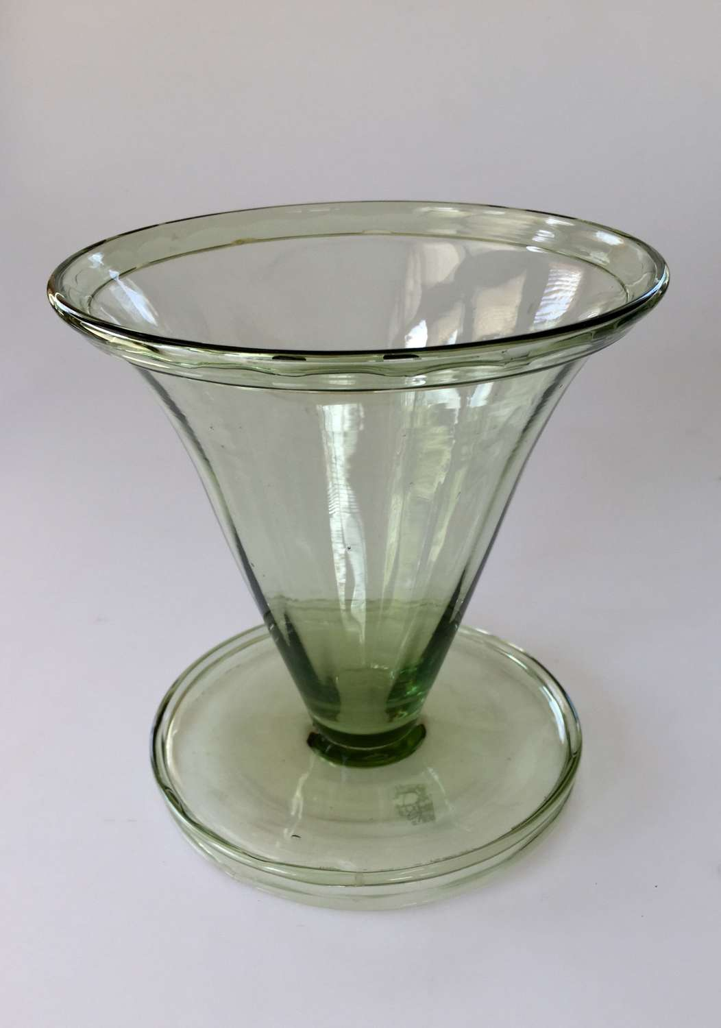 Sea green fluted trumpet vase, Whitefriars