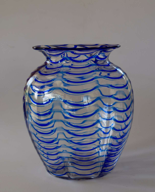 Webb Blue/white threaded baluster vase