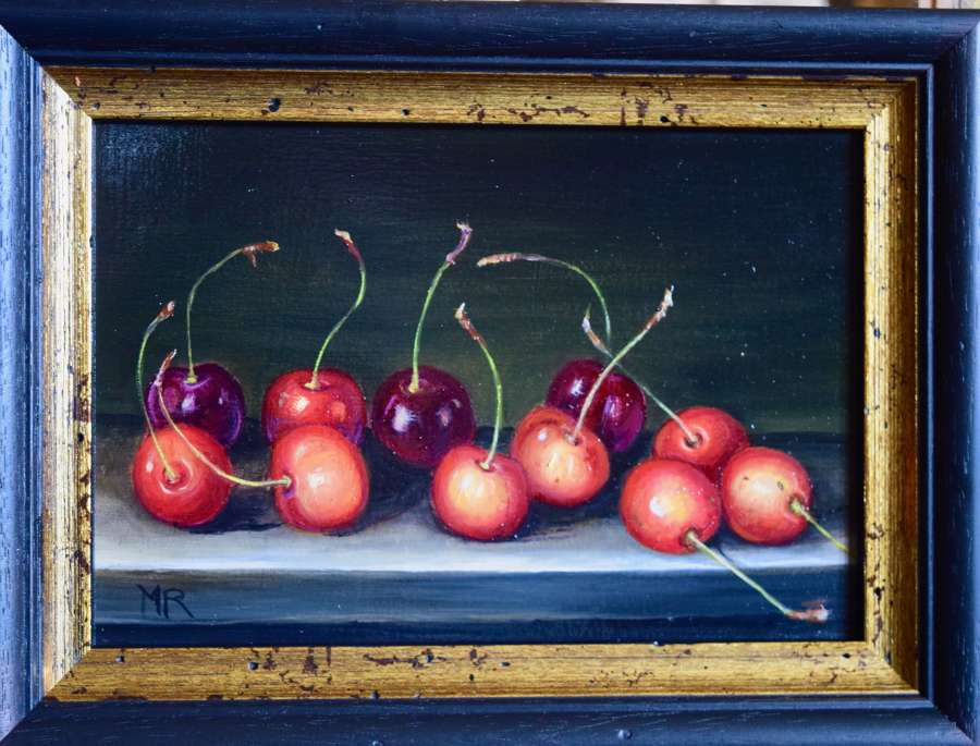 Cherries on a table