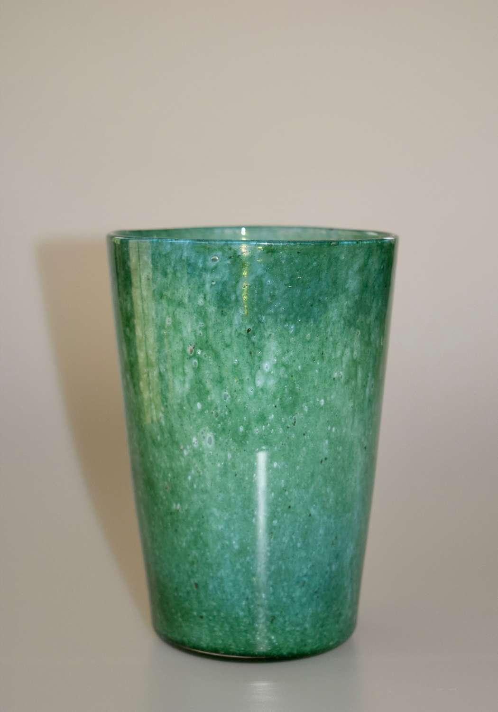 Cloudy green tumbler vase.