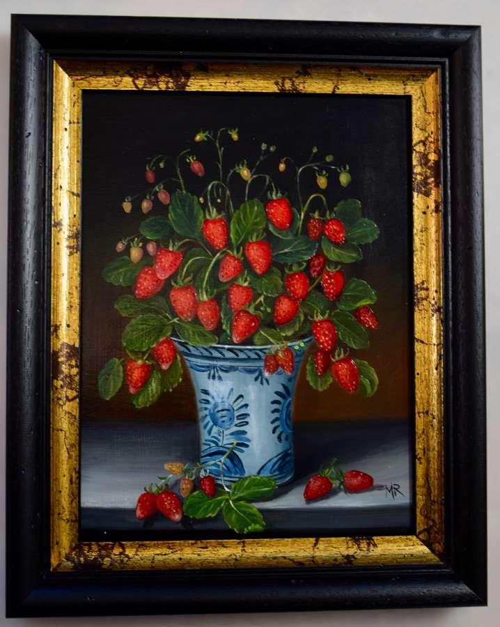 Vase of wild strawberries