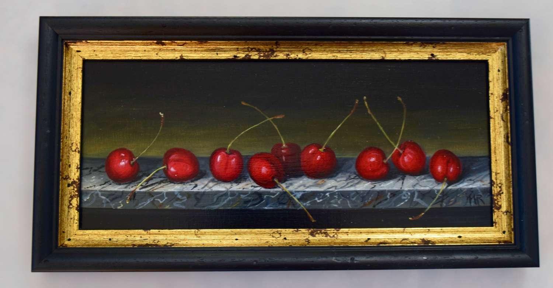 Shelf of cherries