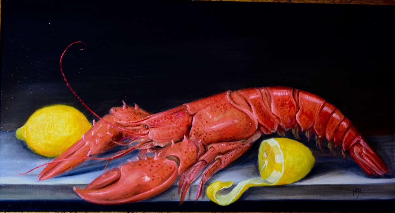 Lobster and lemons on a shelf