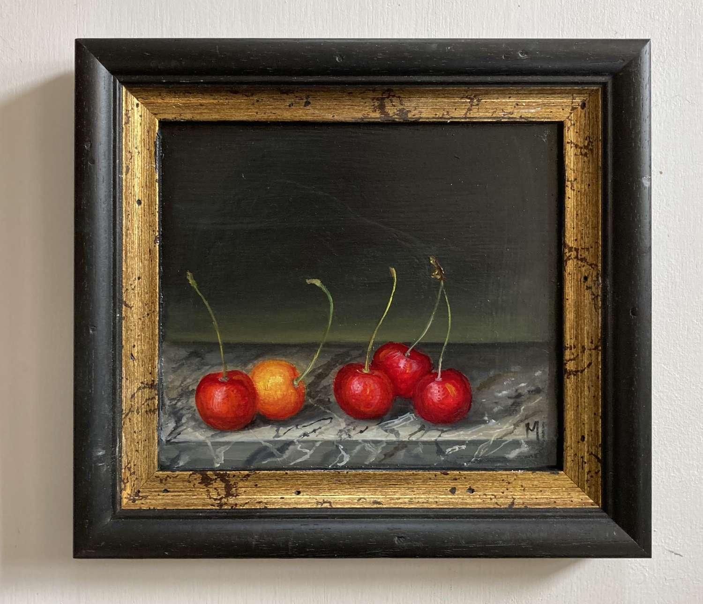 Cherries on marble