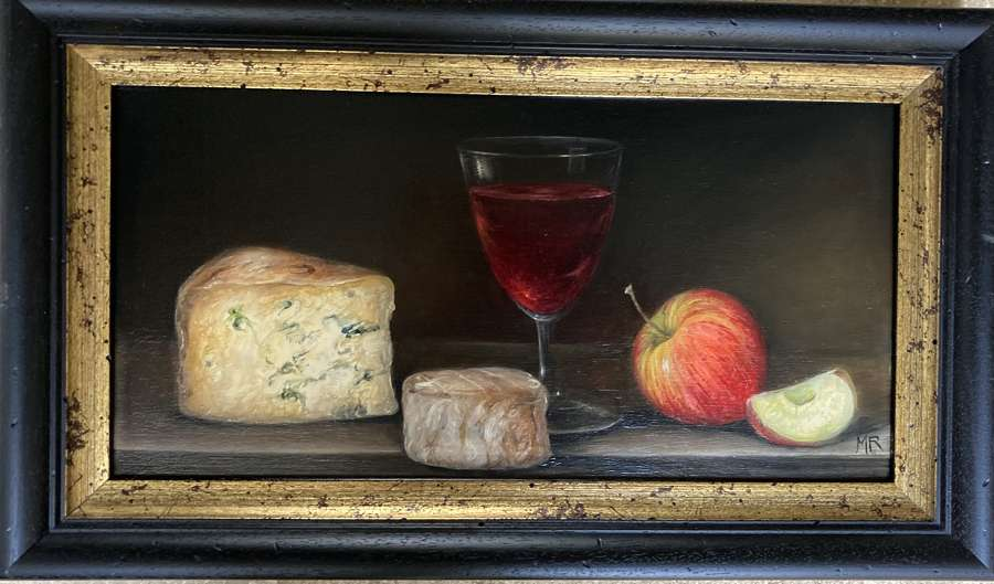 Wine, cheese and apple