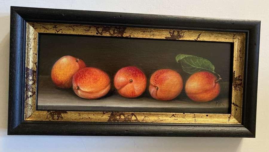 Shelf of apricots