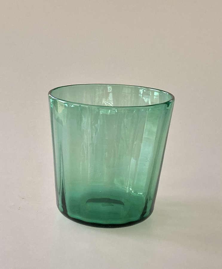 Green optic tumbler vase.