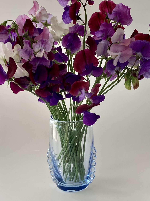 Sapphire blue Whitefriars vase